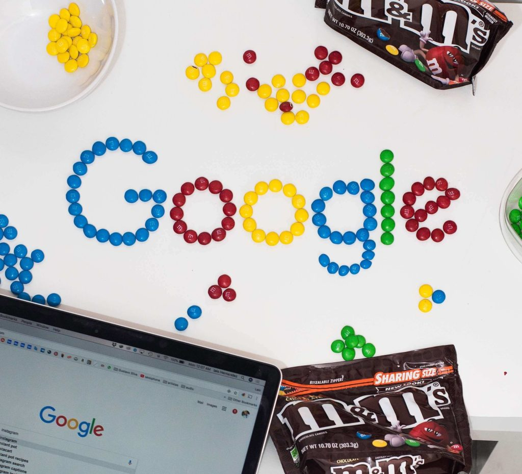 the word Google made from M&Ms