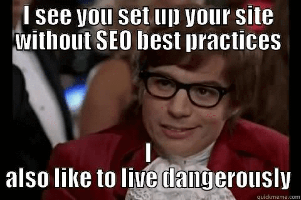 "austin powers saying ""I see you set up your site without SEO best practices. I also like to live dangerously."""